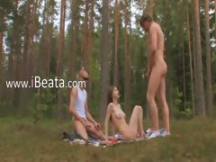 Amateur vatican threesome in the forest